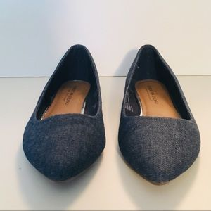 Jean Blue Pointed Flats